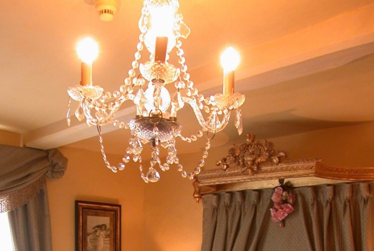 Close up view of crystal chandelier